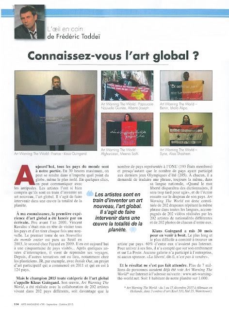 ARTS MAGAZINE Septembre / Octobre 2015.Connaissez-vous l'art global ? Article de Frédéric Taddeï sur Art warning the world et Klaus Guingand