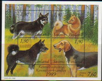 1989年フィンランド共和国 フィンランド・スピッツ サブエソ フィニッシュ・スピッツ(ラパン・ポロコイラ) フィニッシュ・ハウンドの切手シート
