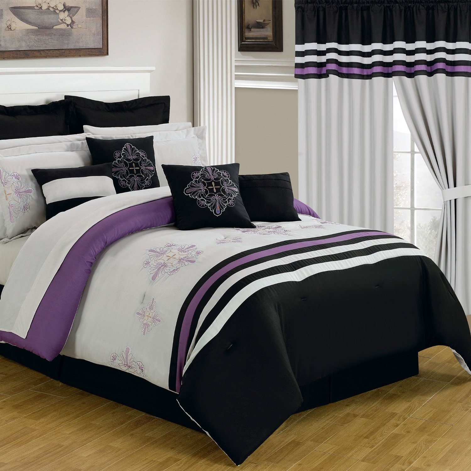 purple black and white bedding sets drama uplifted. Black Bedroom Furniture Sets. Home Design Ideas