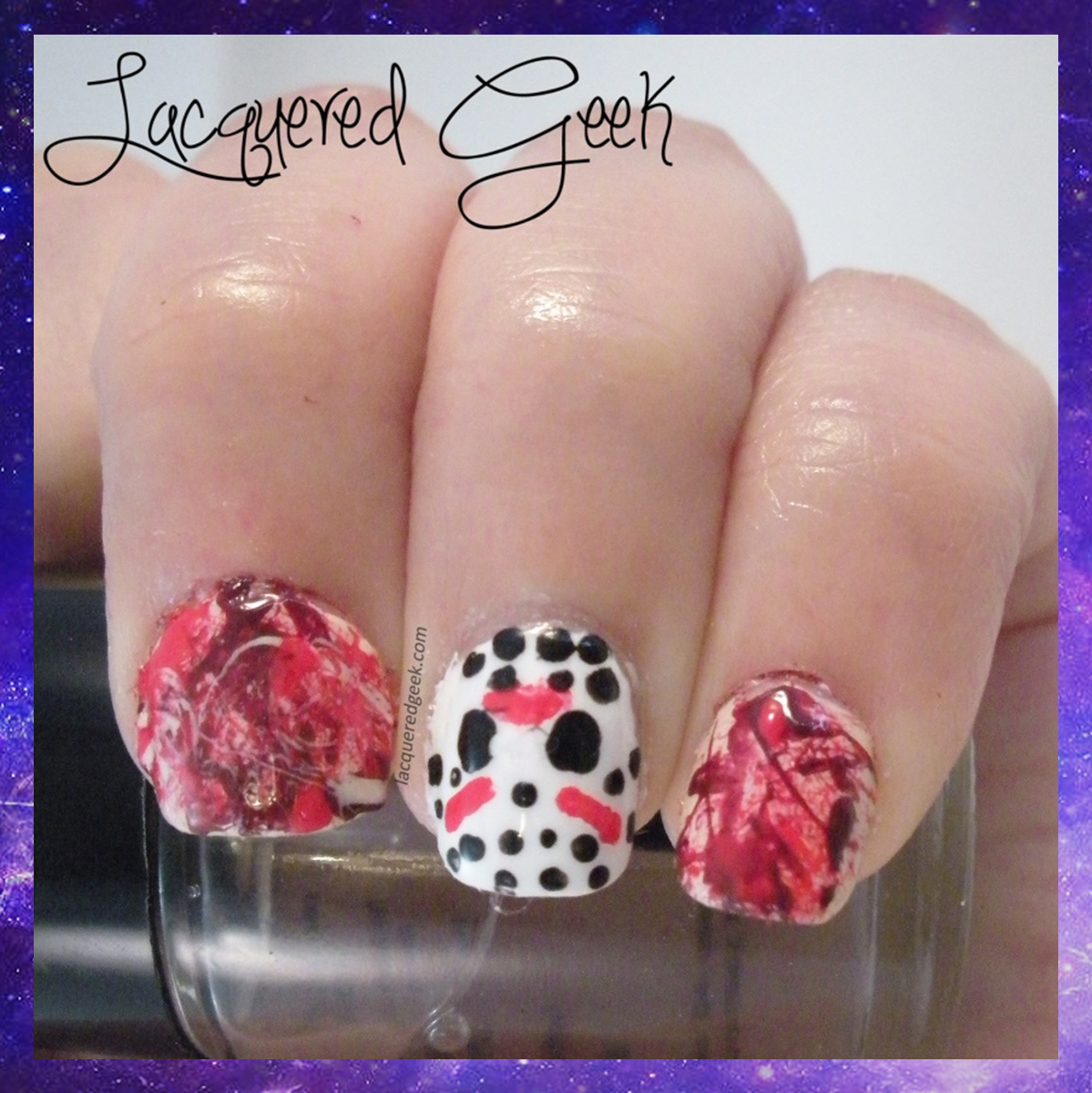 Halloween nail art Friday the 13th