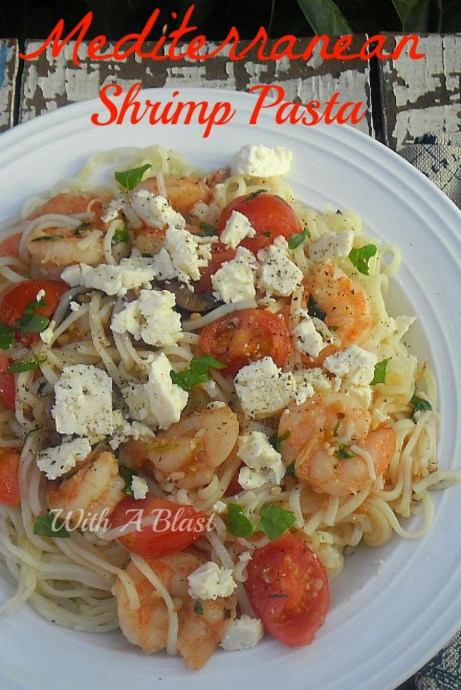 Mediterranean Shrimp Pasta ~ If you like Mediterranean food - you will LOVE this quick and easy Shrimp pasta dish #Pasta #ShrimpRecipe #LowFat