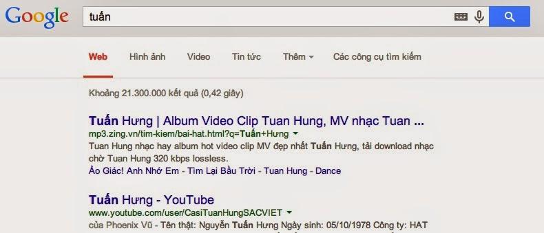 Kết quả Tuấn từ Google