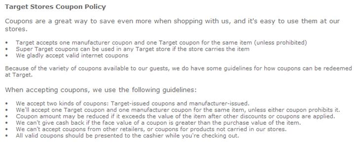 target coupon. Target Coupon Policy from