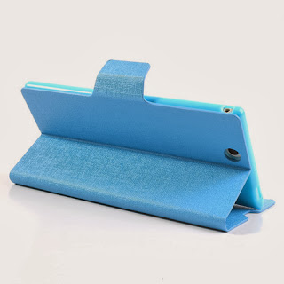 MLT Oracle Grain Leather Wallet Case with Stand for Sony Xperia Z Ultra XL39h C6806 - Baby Blue