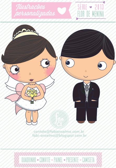 Noivinhos personalizados, topo de bolo, noivinhos para convite de casamento