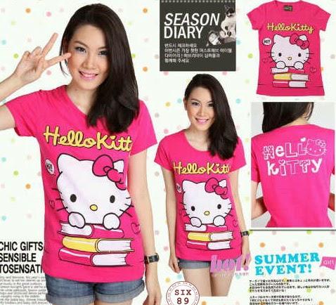 Gambar Stelan Baju Hello Kitty Kaos Celana Pendek Pink