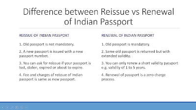 Difference between reissue and renewal of passport India