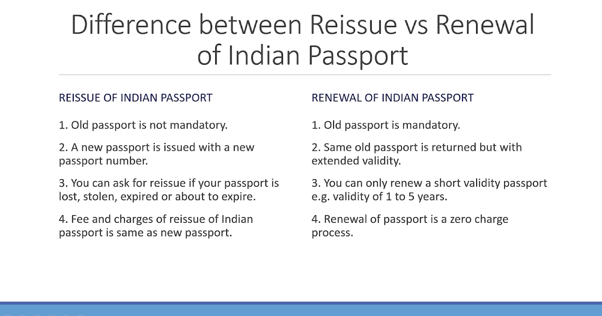 Difference between Re-issue and Renewal of Indian Passport | NRI ...