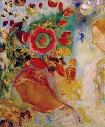 Two young girls amoung flowers Odilon Redon
