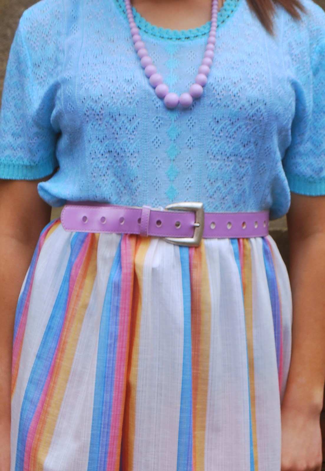 Lilac vintage belt with vintage skirt and vintage top