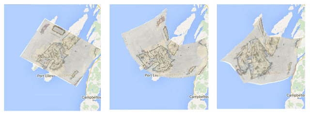 Transformations of Islay map, increasing correction from left to right.  Left:affine, centre:polynomial, right: TPS