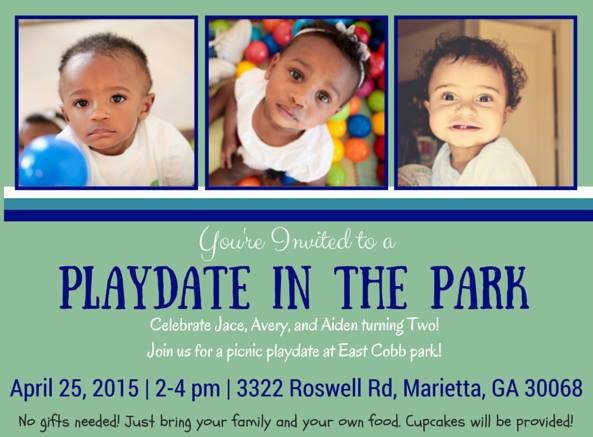 invitation for picnic playdate party by Cordier Events
