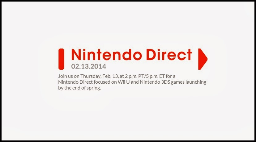 Announcement of Nintendo Direct scheduled for February 13th, 2014