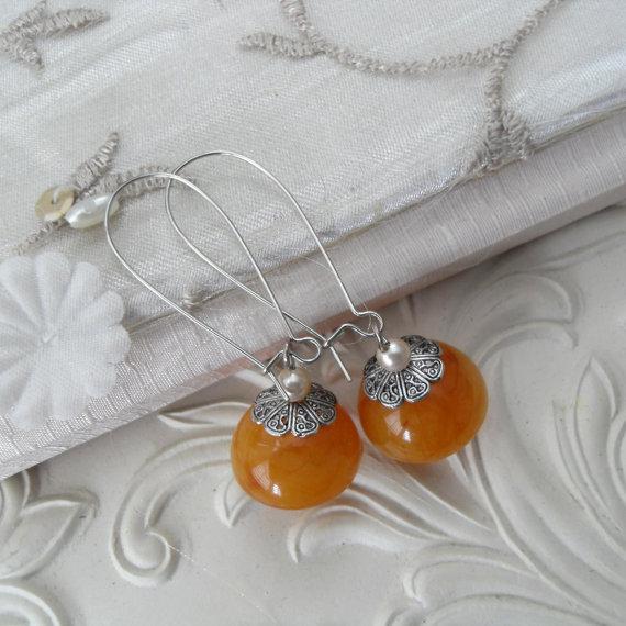 Vintage Orange Amber Lucite Bead Dangle Earrings Sweet Honey