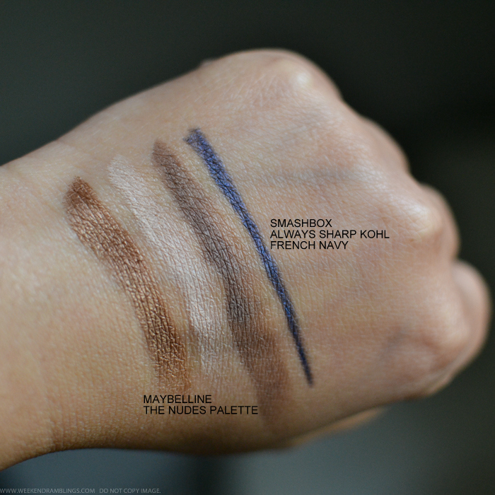 Swatches Maybelline The Nudes Eyeshadow Palette Smashbox Always Sharp Kohl Eyeliner French Navy