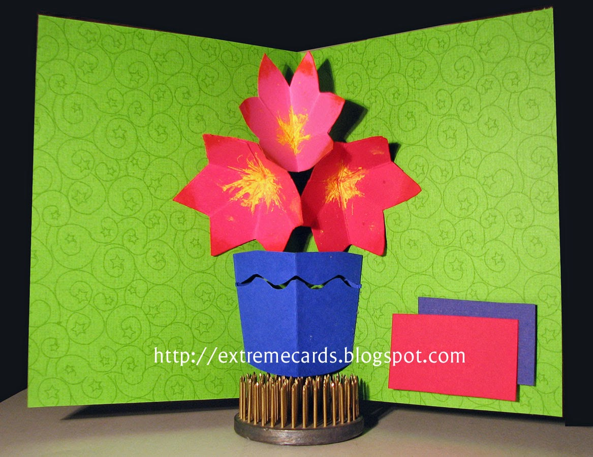 three flower pop up card in a vase