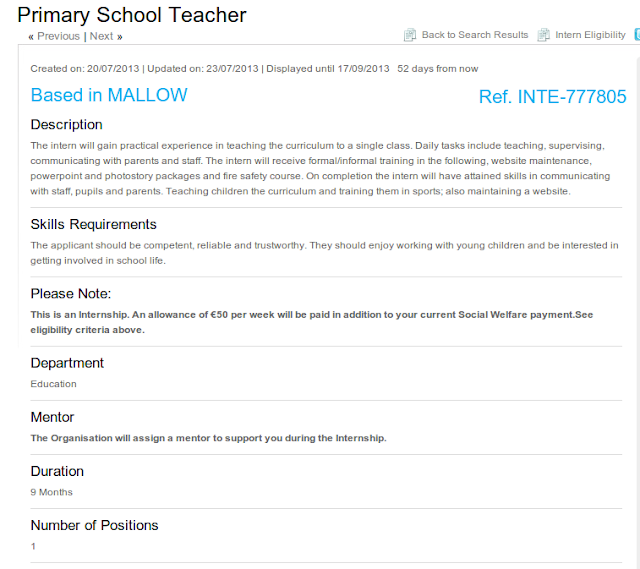 Mallow Primary School Jobsbridge 9 month internship...