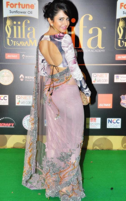 Rakul Preet Singh in Pink Net Saree at IIFA Utsavam Awards 2016
