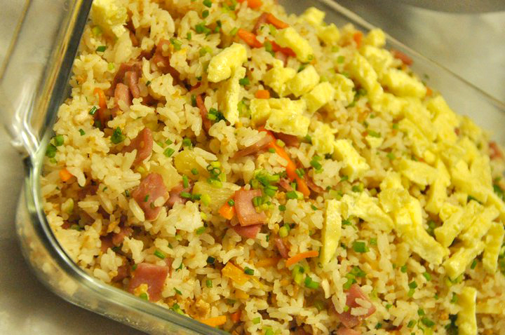 Whats cooking pineapple fried rice the pineapple can only hold a few cups of fried rice so we placed the remaining on clear serving dishes ccuart Image collections
