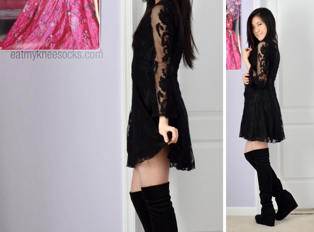More photos of the v-neck lace dress from SheInside, a Reign Over Me dress dupe.