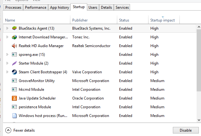 task manager, startup items