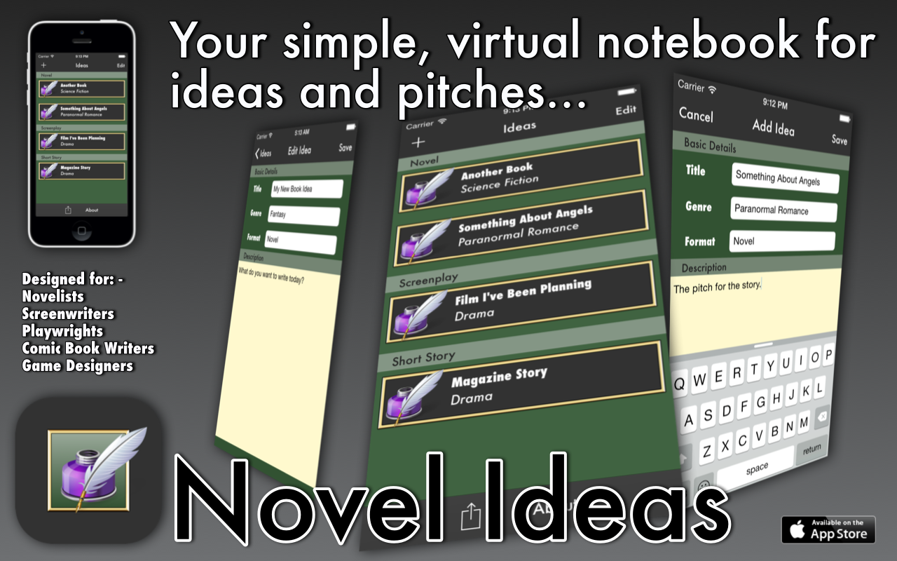 Summary image for the Novel Ideas app
