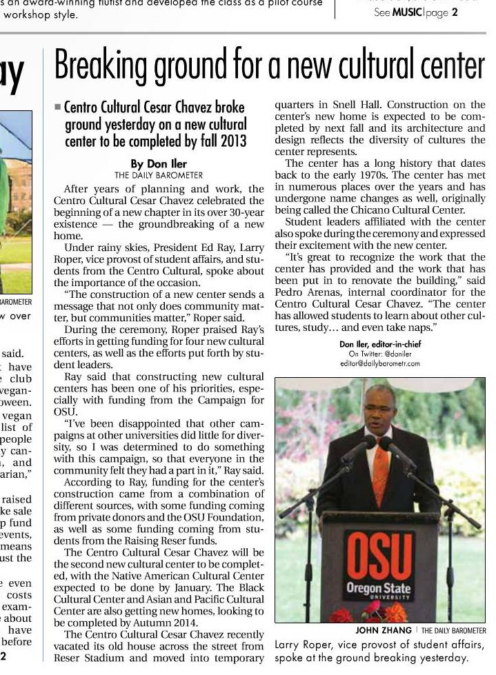 OSU Vice Provost Larry Roper speaking at ground breaking for Centro Cultural Cesar Chavez Barometer, Nov. 2, 2012, p. 1