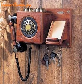 Ретро телефон HT-06B Кантри настенный с держателем для ключей в стиле начала ХХ века