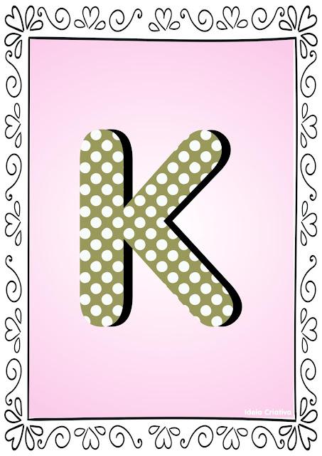 Alfabeto Poá Colorido com Borda Letra K
