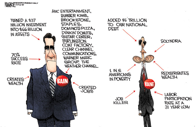 Mitt Romney, Barack Obama, Political Cartoon