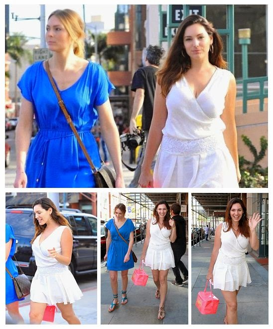 Pictured her elegance in fashionably, Kelly Brook showing off her enthusiastic as she strolled with a female friend at Beverly Hills, Ca, USA on Wednesday, January 7, 2015.