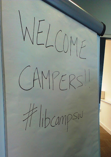Library Camp 'welcome campers' sign