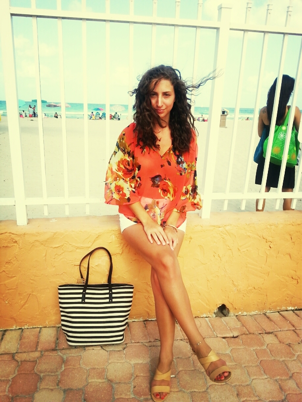 miami beach floral orange top white shorts rayban clubmasters sunglasses curly hair