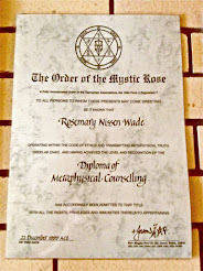 Certificate in Metaphysical Counselling from the Order of the Mystic Rose, 1999