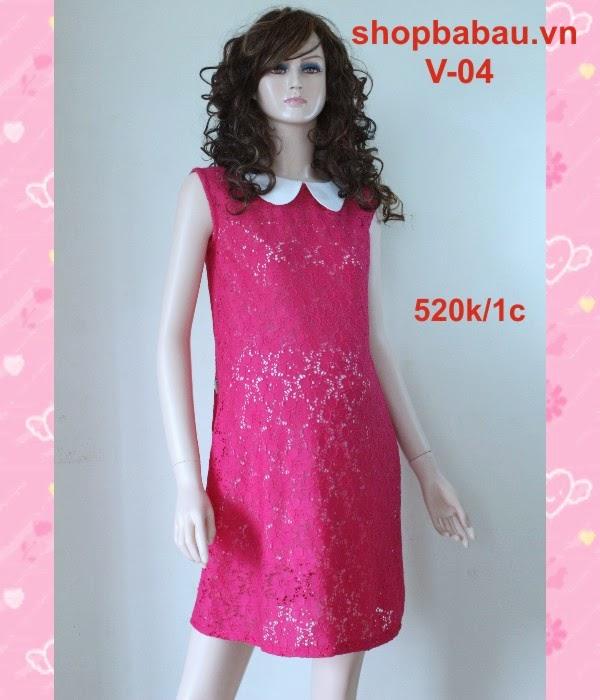 váy bầu - đầm bầu hồng v-04