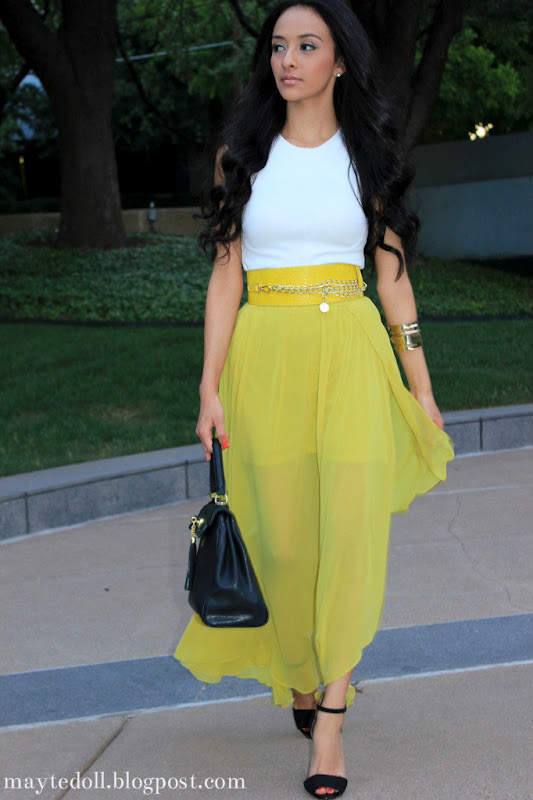 Maytedoll lime yellow maxi skirt