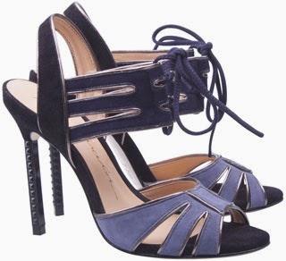 Luiza Barcelos sandália salto alto tira frontal em camurça azul jeans