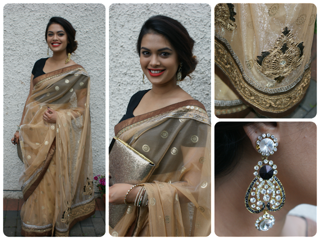Ustaav Saree Zarine Khan collection, Statement Desi earrings, Gold clutch