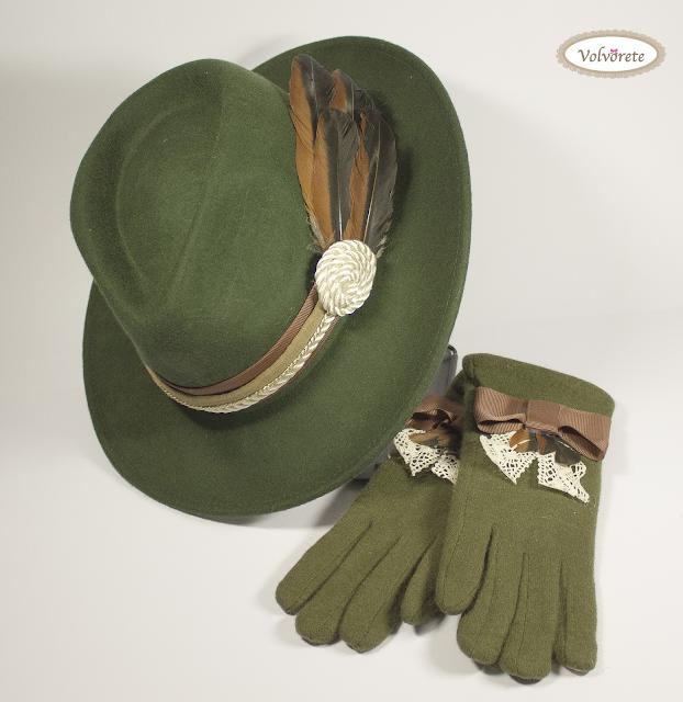 Sombrero Pluma y Cintas + Guantes Volvorete