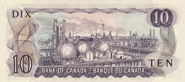 Canada money currency 10 Dollar Note 1971 Polymer Corporation oil refinery in Sarnia, Ontario