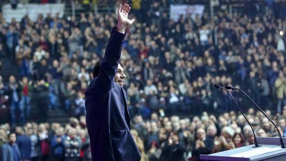 Ο αρχηγός του κόμματος ΣΥΡΙΖΑ Αλέξης Τσίπρας στο συνέδριο του κόμματος εν όψει των επερχόμενων εκλογών στην Ελλάδα