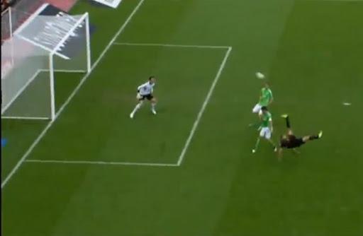 Leverkusen striker Eren Derdiyok scores against Wolfsburg with a stunning overhead kick