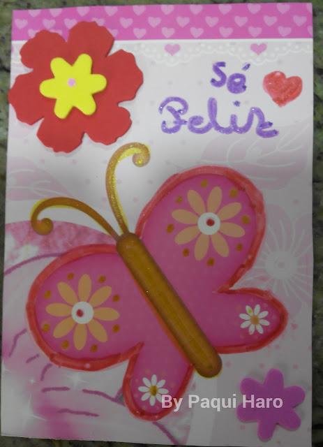 Postal realizada a mano de mariposa
