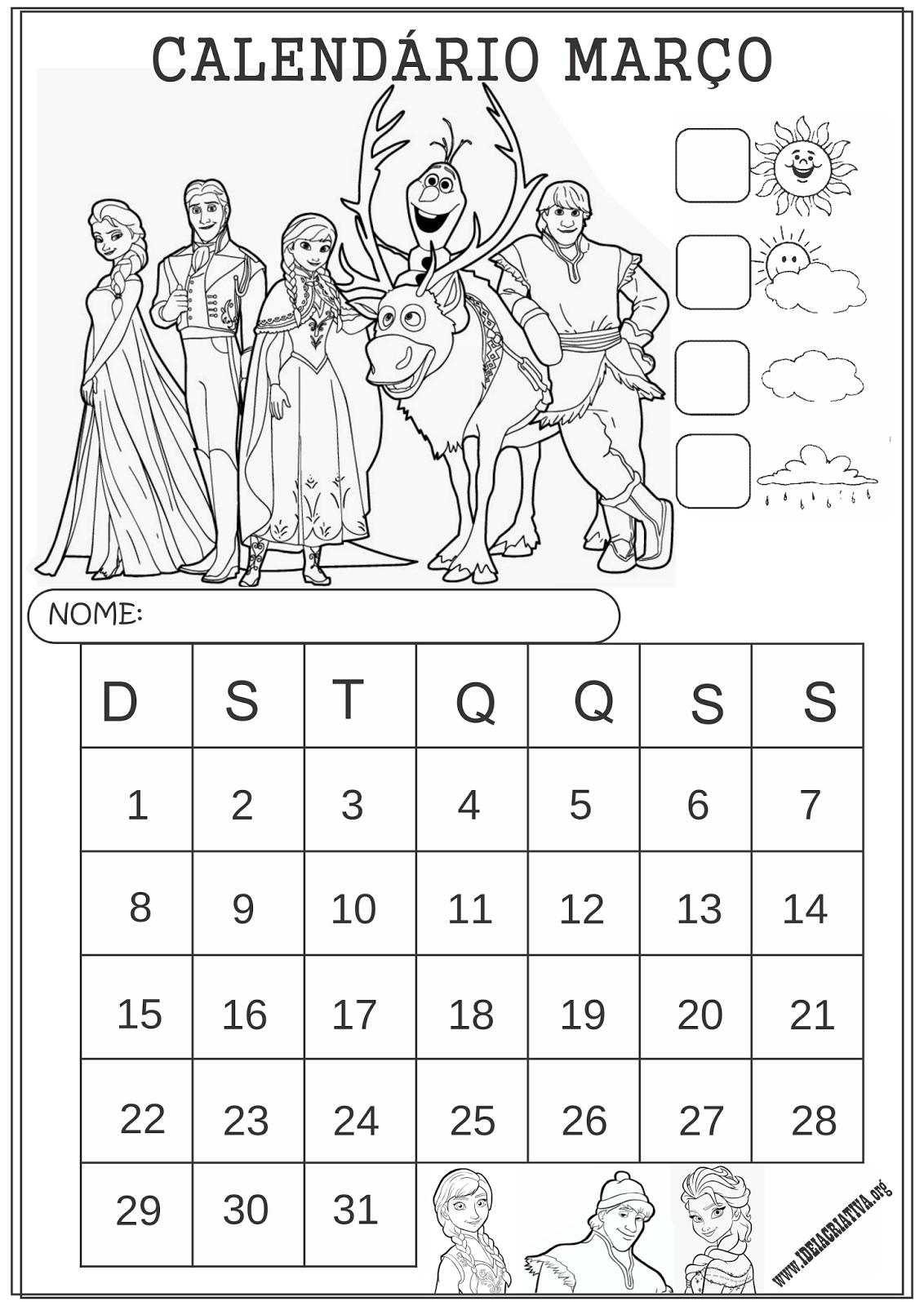 Calendários Janeiro 2015 Frozen Colorir Educação Infantil