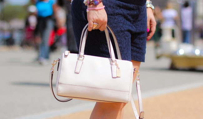 White Mini Saffiano Leather Satchel from Coach