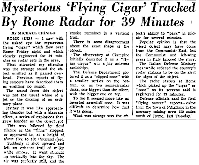 Mysterious 'Flying Cigar Tracked By Rome Radar for 39 Minutes - Sunday Journal & Star (Lincoln, Nebraska)  9-19-1954