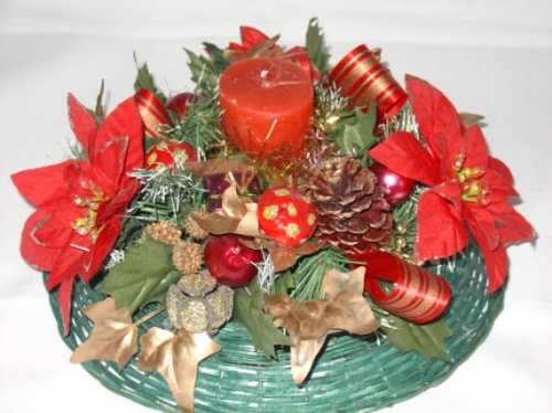 Centros de mesas navide os con velas rojas blancas - Centros de mesa navidenos hechos a mano ...