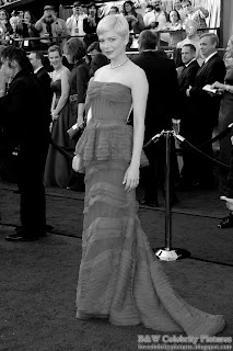 Michelle Williams over red carpet at 2012 Academy Awards - Oscar arrival