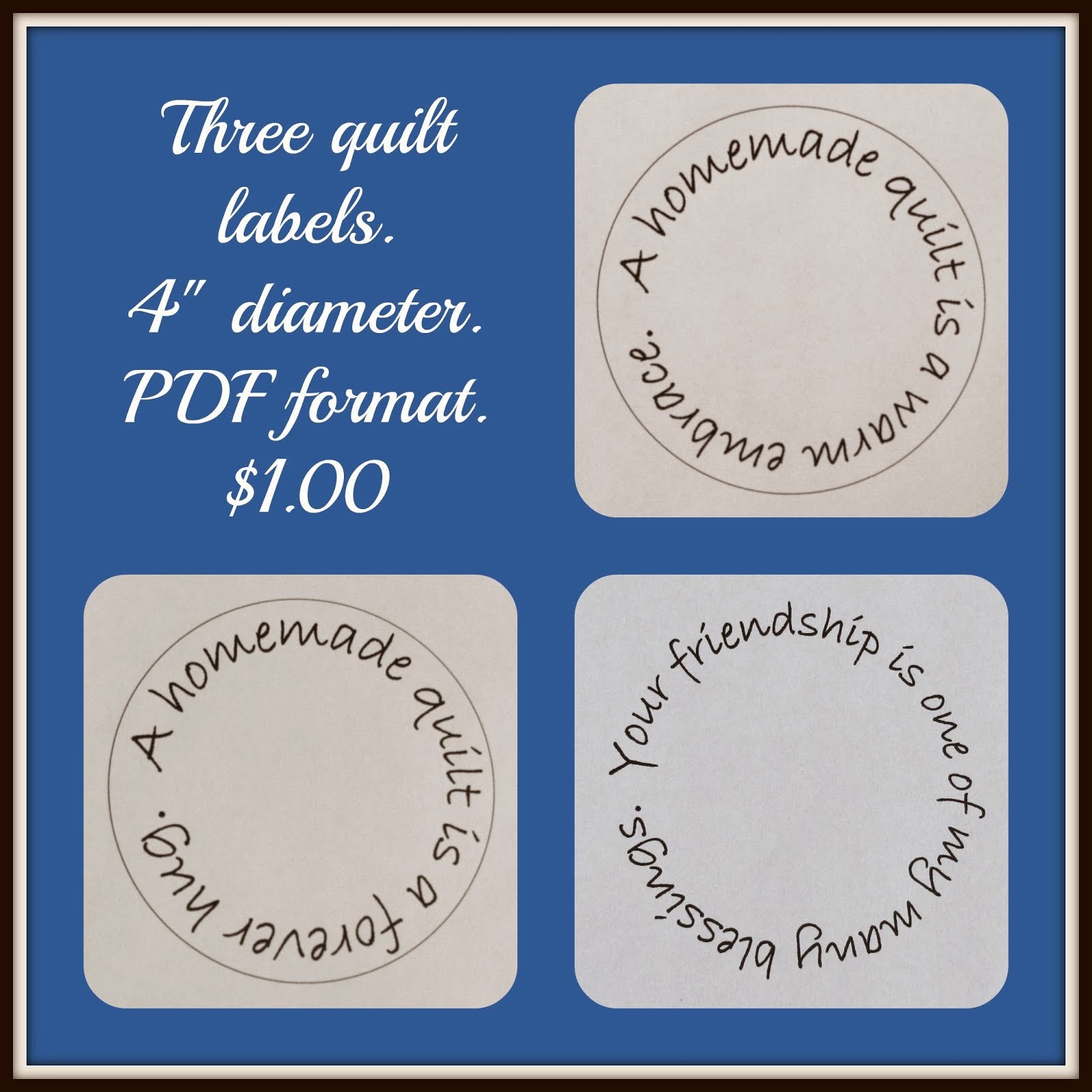 Quilt Label Templates For Sale