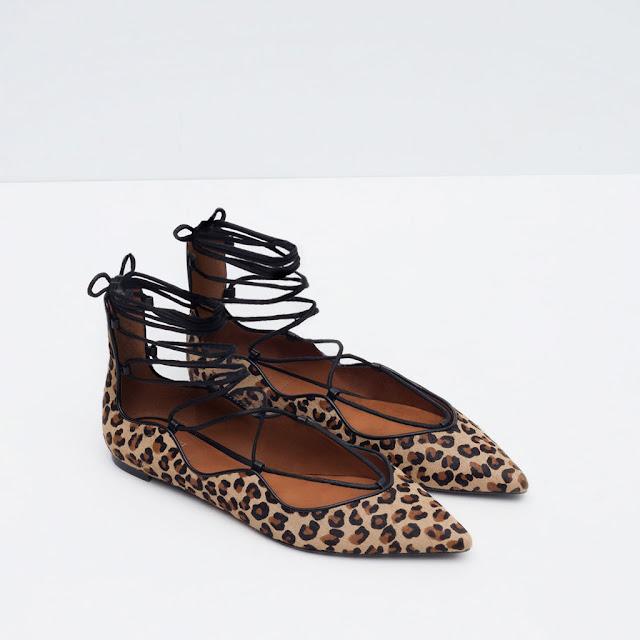 bailarinas leopardo cordones zara